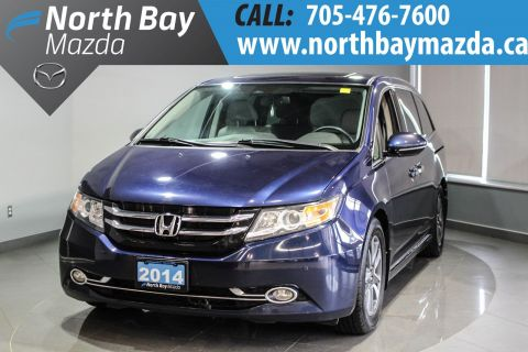 Certified Pre-Owned 2014 Honda Odyssey Touring  Leather + Power Tailgate + Nav + Sunroof With Navigation