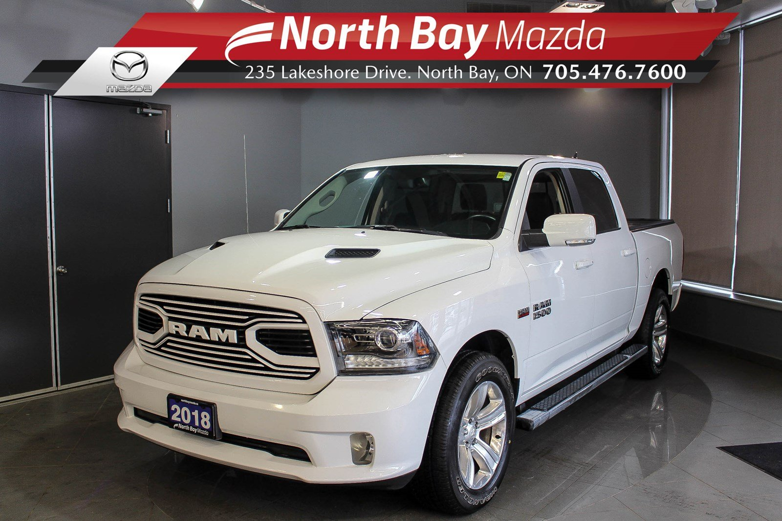 Pre-Owned 2018 Dodge RAM 1500 Sport 4X4 with Bluetooth, Back Up Camera, Tonneau Cover