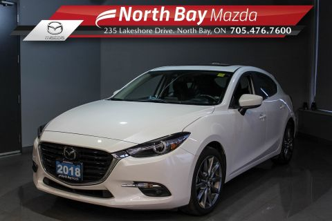 Pre-Owned 2018 Mazda 3 GT with Heated Seats, Leather, Bose, Sunroof! FWD Hatchback